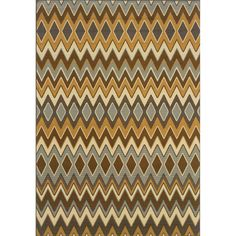 This beautiful area rug will help your outdoor spaces feel more like home in on trend shades of grey, gold, brown, slate blue and ivory. This durable polypropylene rug will endure the elements and continue to look great for many years.