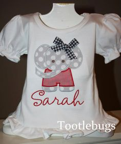 Custom personalized appliqued ruffle tee shirt by Tootlebugs, $22.00