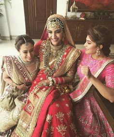 May Jacqueline Fernandez shares a gorgeous click with the bride. Sonam Kapoor and Anand Ahuja's Sikh wedding- Anand Karaj Indian Wedding Jewellery, via Indian Celebrities, Bollywood Celebrities, Bollywood Fashion, Bollywood Actress, Bollywood Stars, Sonam Kapoor Wedding, Bollywood Wedding, Desi Wedding, Indian Bridal Fashion