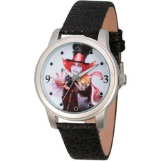 Disney Womens Alice In Wonderland Black And Silver Tone the Mad Hatter... (€36) ❤ liked on Polyvore featuring jewelry, watches, disney, disney jewelry, disney jewellery, water resistant watches and black and silver watches