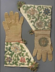 Pair of gloves said to have belonged to Cardinal Richelieu. Pair of knitted gloves French, 17th century France Dimensions Overall: 39 x 25 x 1.5 cm (15 3/8 x 9 13/16 x 9/16 in.) Medium or Technique Silk; embroidery Accession Number 38.1357a-b