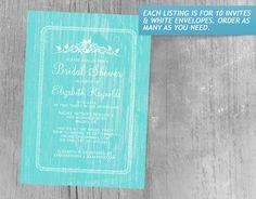 Teal Vintage Barn Wood Bridal Shower Invitations