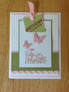 Stampin Up handmade happy birthday card - with pull up bookmark