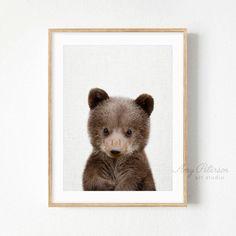 Baby Bear Cub Print, Woodland Nursery Art, Baby Woodland Animal Wall Art, Baby Animal Art by Amy Peterson