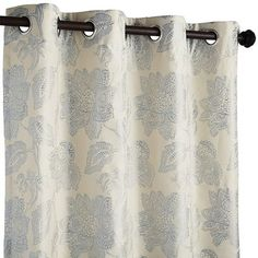 """Serene Floral Curtain - Blue 96""""--- $49.95 $39.96--,Polyester Lined--Blue/ivory"""