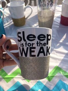 Sleep is for the Weak 14oz sparkling coffee mug by SipSparkle on Etsy