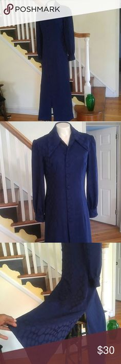 Vintage Button Down Polyester Navy Dress w Slits Vintage Button Down Polyester Navy Dress w Slits A Straight Up Beauty. 10 Covered Button Down Front.  Has Lining. Blue Large Dot Fabric. Will Fit Size 4 Vintage Dresses Maxi