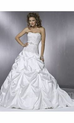 Ball Gown Long Strapless Natural Wedding Dresses ykdress7462