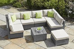 Outdoor Rattan Garden Furniture GREY Conservatory Patio Corner COMO Sofa Set