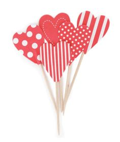 Kids Party Supplies | Valentines Day | Paper Eskimo Cake Toppers - Candy Cane Hearts | Buy Now at www.perfectkidspartyshop.com.au