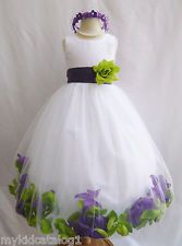 Customize infant toddler teen wedding party white rose petals flower girl dress