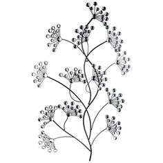Black Metal Tree Branch Wall Decor with Gemstones