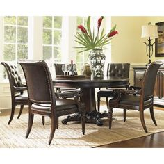 Tommy Bahama Home Island Traditions Six Piece Dining Set with Isleworth Table and Hastings Armchairs