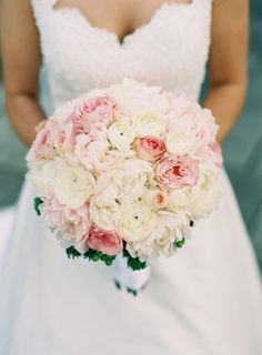 #Pink #Bouquet | See the wedding on SMP -- http://www.StyleMePretty.com/little-black-book-blog/2014/01/23/preppy-chic-waterfront-backyard-wedding/ Adam Barnes Fine Art Photography