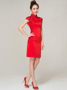 Red Short Lace Cheongsam / Qipao / Chinese Wedding Dress