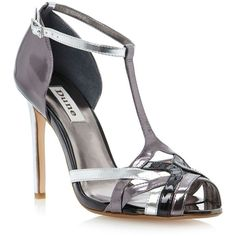 Pewter havian multi metallic strappy t bar heeled sandal (145 BRL) ❤ liked on Polyvore featuring shoes, sandals, high heels, women's footwear, high heel sandals, t strap sandals, strappy high heel sandals, strappy stiletto sandals and strappy heeled sandals