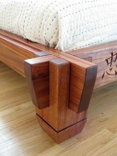 Asian-inspired platform bed joinery