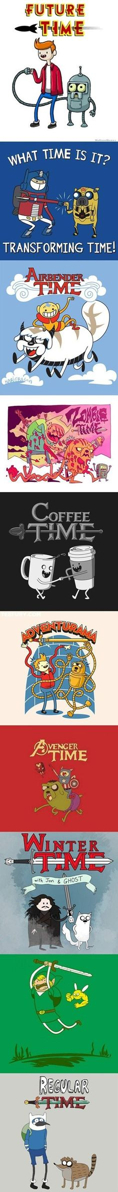 Adventure Time + Futurama + Transformers + Avatar + Zombies + Coffee + Futurama + The Avengers + Game of Thrones + Zelda + Regular Show