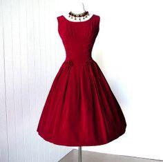 posh girl vintage red clothing | vintage 1950's dress decadent ROYAL RED VELVET ... | Posh Girl Vintage