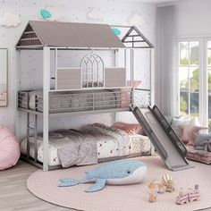 Furniture of America Romm Transitional Grey Twin Over Twin Bunk Bed