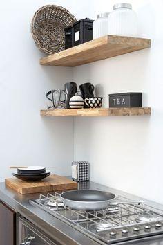 Modern wood shelf designs favorites rustic open shelving in the kitchen kitchens kitchen shelves home decor New Kitchen, Kitchen Interior, Kitchen Decor, Kitchen Small, Kitchen Ideas, Design Kitchen, Dutch Kitchen, Space Kitchen, Stylish Kitchen