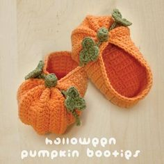Halloween Pumpkins Baby Booties PATTERN pattern on Craftsy.com