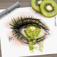 Crying kiwi eye illustration
