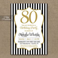 80th Birthday Invitations Black Gold Glitter by NiftyPrintables, $15.00