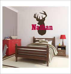 Deer Heads Tracks Personalized Name Wall Sticker Vinyl Wall - Custom vinyl wall decals deer