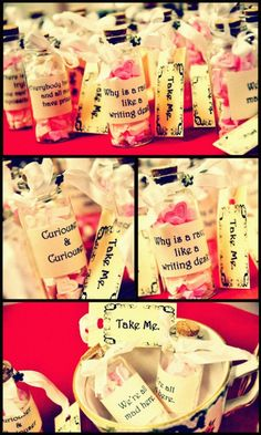 I kind of like this idea. It's from a wedding in which the theme was Alice in Wonderland, but it could be kind of fun.
