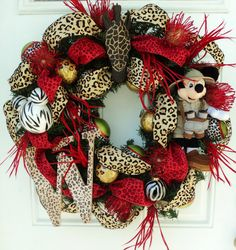 cheetah print mickey mouse ears   Safari Mickey Mouse Wreath with Red Cheetah and Leopard Print Ribbon ...