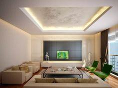 Living elegante, contemporaneo moderno con una bellissima illuminazione. Pittura decorativa dorata sul soffitto