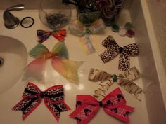 I made these bows i get all my ribbon from hobby lobby