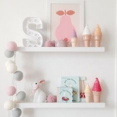 Could use Kmart bunny light and hack the ice creams. mommo deign...shelfie love <3...