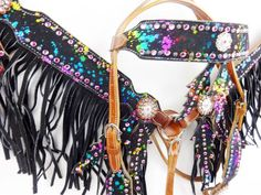 Fringe leather pink bling headstall western horse bridle breast collar tack