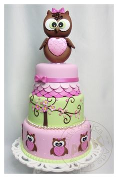 owl birthday cake! Hw freakin cute!! Totally ♥! Do this in purple not pink.....I'm thinking yes