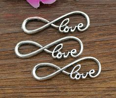 "15pcs--Infinity love Charms, Antique Silver letter ""8"" Infinity symbol With Love Connector Link Charm Infinite Pendant 13x38mm on Etsy, $2.83"