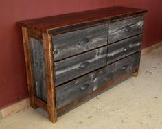 Weathered Gray Wood Dresser Six Drawer — Barn Wood Furniture - Rustic Barnwood and Log Furniture By Vienna Woodworks Cedar Furniture, Iron Furniture, Furniture Repair, Diy Pallet Furniture, Furniture Projects, Rustic Furniture, Home Furniture, Outdoor Furniture, Paint Furniture