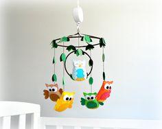 Musical owl mobile  Nursery baby crib mobile by LullabyMobiles