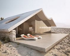 "Small Homes / Living Large in a Stylish Space: The desert villa project was done as an interior and exterior visualization for an architecture office called ""Winestein Vaadia Architects"". Creative Architecture, Amazing Architecture, Interior Architecture, Organic Architecture, Installation Architecture, Prefab Modular Homes, Prefab Cabins, Cabins For Sale, Tiny House Cabin"