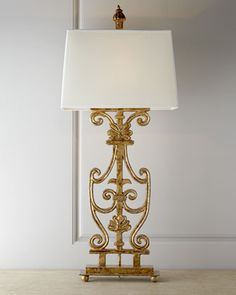 2nd Floor / On The Gold Console, In The Third Room Of The Cherise Young Girl's Dressing Room / Walker Bannister Lamp at Neiman Marcus.