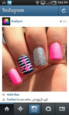 Cute!! Love the pink and navy and glitter!!!!