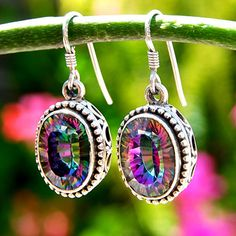 Mystic Topaz Mystic Fire Topaz, Buy Gemstones, Topaz Jewelry, I Love Jewelry, Jewelry Box, Topaz Gemstone, Unique Earrings, Diamond Stone, Opals
