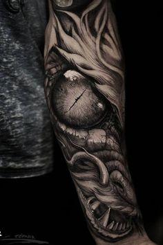 Dragon eye tattoo for arm by Stefano Alcantara. Viking Dragon Tattoo, Dragon Tattoo Back, Tribal Dragon Tattoos, Celtic Dragon Tattoos, Dragon Tattoos For Men, Dragon Sleeve Tattoos, Japanese Dragon Tattoos, Dragon Tattoo Designs, Tattoos For Guys