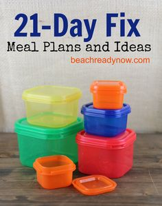 21 Day Fix Meal Plans--I pinned most recipes, but may want to go back for more (inc. crockpot chicken)