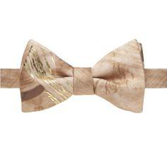 Trompe L'Oeil Natural Brown Wood Grain Bow Tie