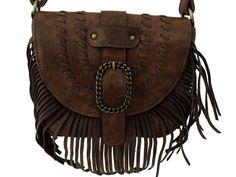 Bolsa em couro camurça de cor marrom e costura de alta qualidade com…