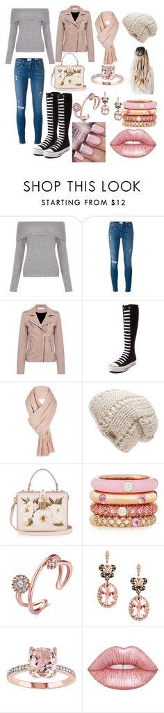 """""""untitled #20"""" by happy13242 ❤ liked on Polyvore featuring New Look, Frame Denim, IRO, Converse, Free People, The North Face, Dolce&Gabbana, Adolfo Courrier, Effy Jewelry and Lime Crime"""