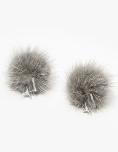 From Tuleste, a pair of mink fur pom pom earrings in Grey with silver-toned hardware and post backs. Mink Fur, Fur Pom Pom, Hardware, French, Grey, Earrings, Projects, Silver, Clothes