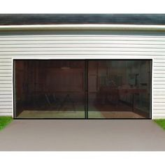 new double garage door screen 16 ft w x 7 ft h magnetic closure weighted bottom